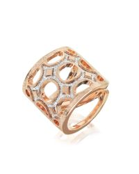 Rebecca | Pink Seventies - 18 Kt Rose Gold Over Bronze Ring With Glitter | Lyst