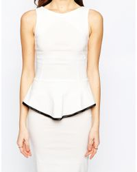 Vesper - White Sophie Peplum Midi Dress With Contrast Trim Detail - Lyst