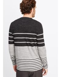 Vince - Gray Sporty Jaspé Colorblock Striped Henley Sweater for Men - Lyst