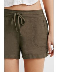 Forever 21 | Green Life In Progress Linen-blend Drawstring Shorts | Lyst