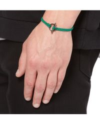 Yuvi - Green Silver and Woven Cord Bracelet for Men - Lyst