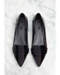 Forever 21 - Black Pointed Faux Leather Loafers You've Been Added To The Waitlist - Lyst