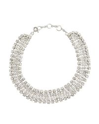 Kenneth Jay Lane - Metallic Silver Crystal Statement Necklace - Lyst