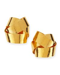 Herve Van Der Straeten | Metallic Ruban Ribbon Gold Knot Clipon Stud Earrings | Lyst