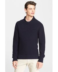 A.P.C. | Blue Shawl Collar Wool Sweater for Men | Lyst