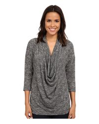 Bobeau | Blue Shimmer Knit Front Cowl | Lyst