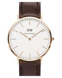 Daniel Wellington - Brown 'classic Bristol' Leather Strap Watch - Lyst