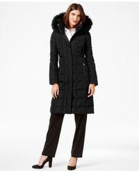 Calvin Klein | Black Faux-fur-trim Knee-length Down Coat | Lyst