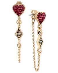 Betsey Johnson | Metallic Gold-tone Pavé Heart Front & Back Chain Earrings | Lyst