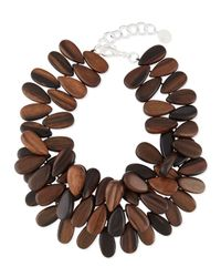 Nest | Brown Tiger Ebony Wood Cluster Necklace | Lyst