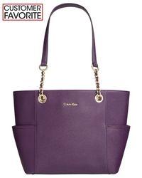 Calvin Klein | Purple Saffiano Leather Tote | Lyst
