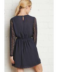 Forever 21 - Blue Floral Lace-trimmed Dress - Lyst