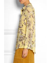Topshop Unique - Yellow Printed Silk-Georgette Shirt - Lyst
