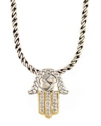 Effy - Metallic Balissima Sterling Silver Necklace With 18 Kt. Gold And Diamond Hamsa Hand Pendant - Lyst