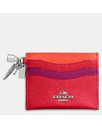 COACH - Red Charm Flat Card Case In Colorblock Leather - Lyst