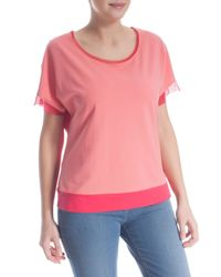 Elena Miro - Red Plus Size Two-tone T-shirt With Tulle - Lyst