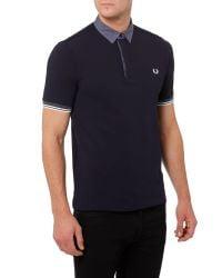 Stussy | Blue Marl Gingham Trim Pique Polo Shirt for Men | Lyst