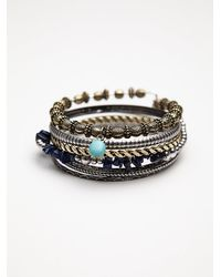 Free People - Gray Stone Cluster Hard Bangle - Lyst