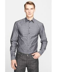 Armani - Gray Trim Fit Paisley Jacquard Sport Shirt for Men - Lyst