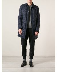Ferragamo - Blue Quilted Coat for Men - Lyst