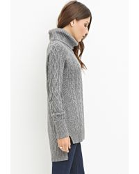 Forever 21 - Gray Wool-blend Cable Knit Sweater - Lyst