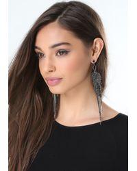 Bebe - Black Fringe Duster Earrings - Lyst