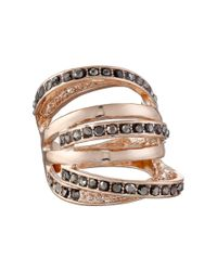 Guess - Pink Orbital Band Ring W/ Stones - Lyst