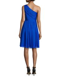ML Monique Lhuillier - Blue One-shoulder Chiffon Cocktail Dress - Lyst