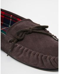 Dunlop - Brown Suede Slippers for Men - Lyst