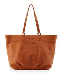 Tory Burch - Brown East-west Stacked Logo Tote Bag Tan - Lyst