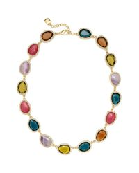 Lauren by Ralph Lauren | Multicolor Goldtone and Multi Stone with Pave Crystal Link Collar Necklace | Lyst