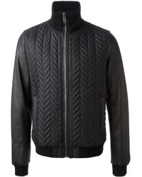 Dolce & Gabbana - Black Zigzag Pattern Bomber Jacket for Men - Lyst