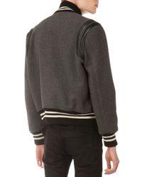 Saint Laurent - Gray Teddy Varsity Jacket for Men - Lyst