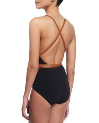 Michael Kors - Black Belted Plunge-neck One-piece Swimsuit - Lyst