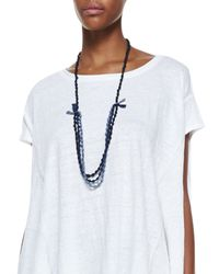 Eileen Fisher - Blue 3-Strand Bindu Silk Beaded Necklace - Lyst