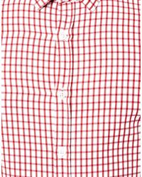 ASOS - Red Smart Shirt in Long Sleeve with Grid Check for Men - Lyst
