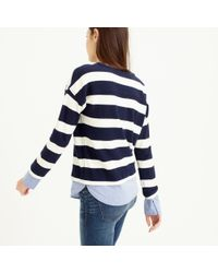 J.Crew - Blue Striped Long-sleeve T-shirt With Shirttail Hem - Lyst