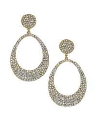 INC International Concepts | Metallic Goldtone Crystal Pave Open Oval Drop Earrings | Lyst