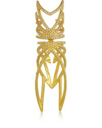 Eddie Borgo | Metallic Winged Hinge Goldplated Cubic Zirconia Ring | Lyst