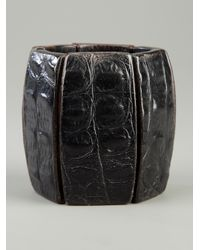 Monies | Black Leather and Wood Bracelet | Lyst