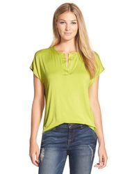 Pleione | Green Split Neck High/low Tee | Lyst