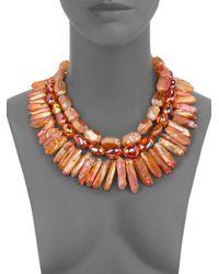 Nest - Orange Fire Opal Quartz Necklace - Lyst