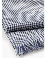 Mango | Blue Check Cotton Scarf for Men | Lyst