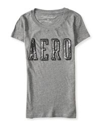 Aéropostale | Gray Sequined Serif Aero Graphic T | Lyst