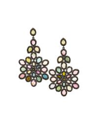 Bavna | Multicolored Tourmaline & Diamond Drop Earrings | Lyst