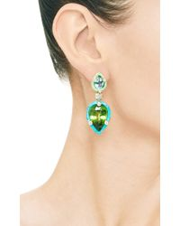 Nicholas Varney - Green Aquamarine Peridot Diamond Gaspeite and Turquoise Duo Earrings - Lyst