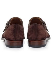 Magnanni Shoes - Brown Suede Monk Strap Shoes for Men - Lyst
