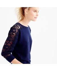 J.Crew | Blue Crewneck Sweater With Edged Lace | Lyst