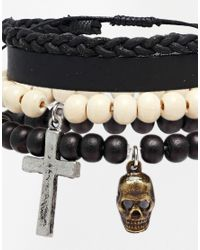ASOS | Leather Beaded Bracelet Pack In Black for Men | Lyst