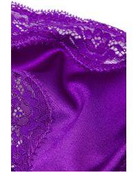 Stella McCartney - Purple Clara Whispering Lace-Trimmed Stretch-Silk Thong - Lyst